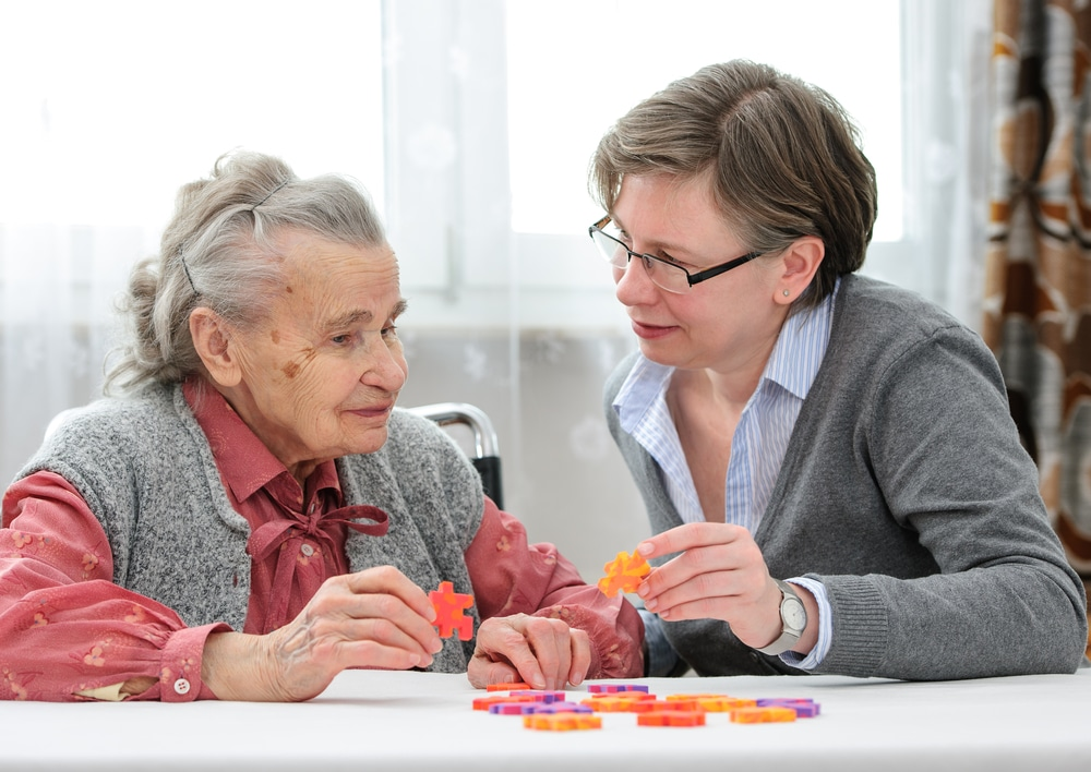 a social worker looking after an elderly person