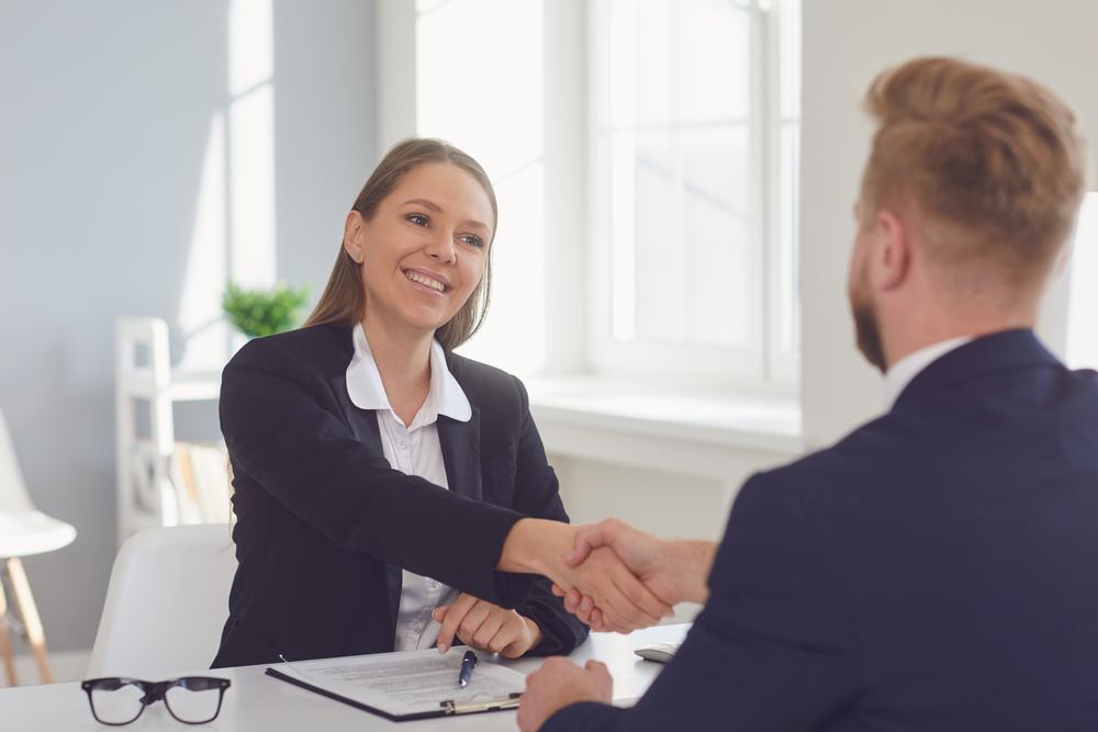 man interviewing for social work job